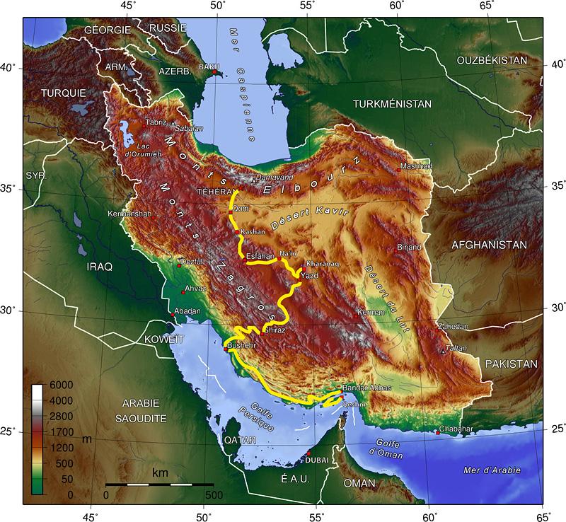 Iran topo route